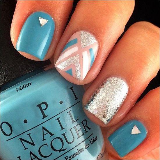 Argyle nail art manicure 1