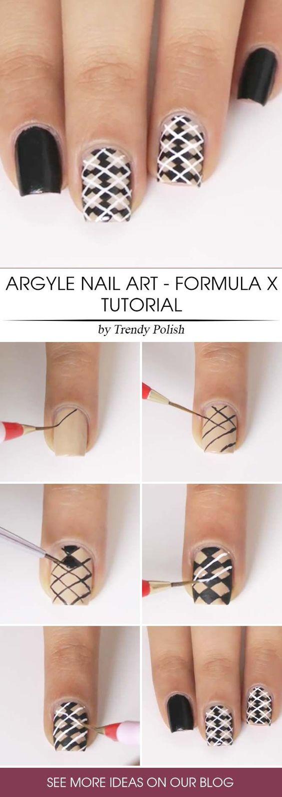 Argyle nail art manicure 5