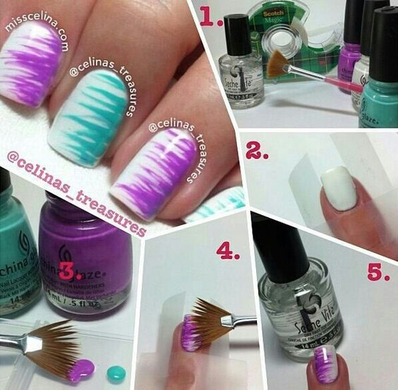 Brush Striped Nail Art Ideas 2