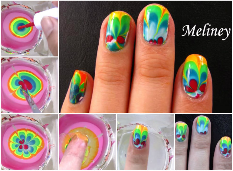 DIY Rainbow Water Marble Nail Art Tutorial