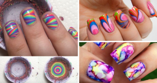 DIY rainbow water marble nail