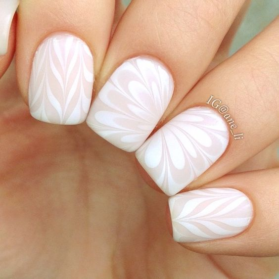 Dry watercolor marble nails 2