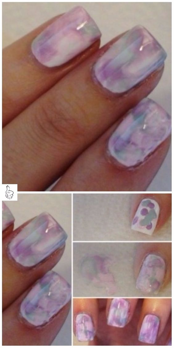 Dry watercolor marble nails 3