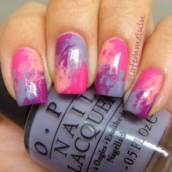 Dry watercolor marble nails 7