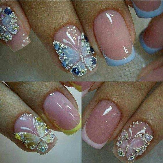 Nails Decorated Butterflies 1