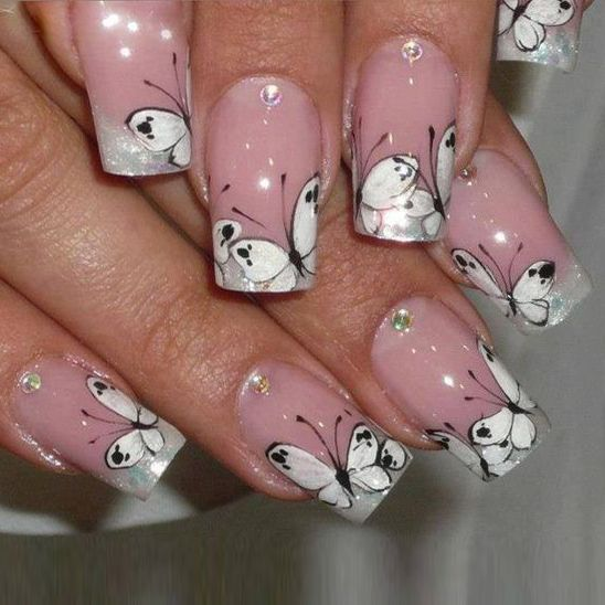 Nails Decorated Butterflies