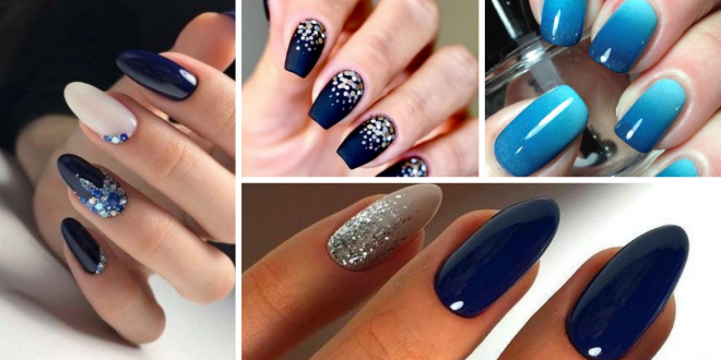 Nails Decorated with Blue