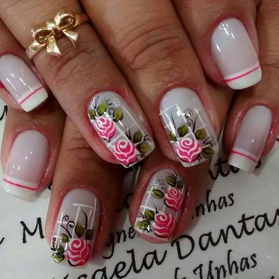 Nails floral print 4