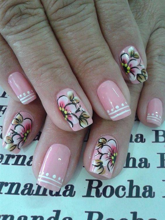 Nails floral print 6