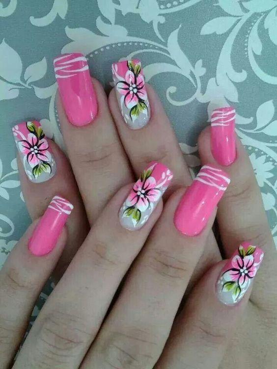 Nails floral print 7