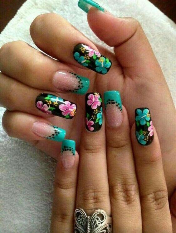 Nails floral print 8