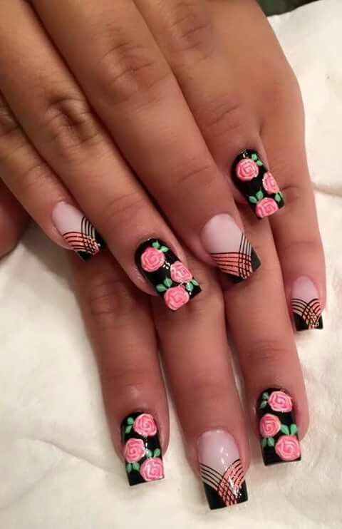 Nails floral print 9