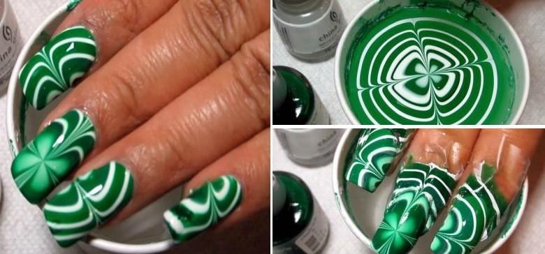 St Patricks Day Water Marble Nail Art