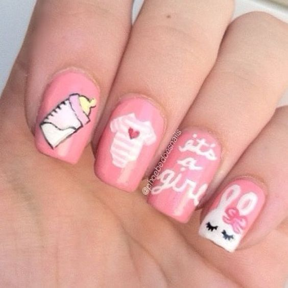 baby shower nails ideas 4