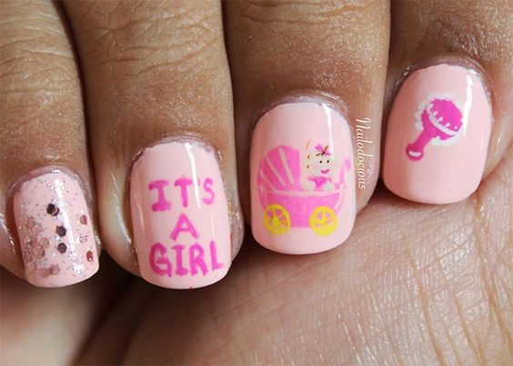 baby shower nails ideas 5