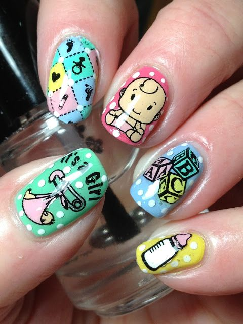 baby shower nails ideas 8