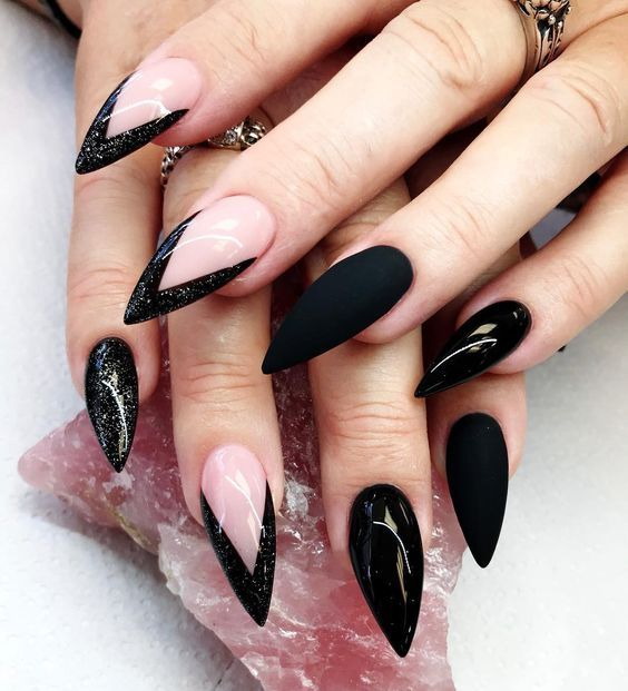 black decorated nails 11