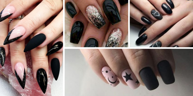 black decorated nails