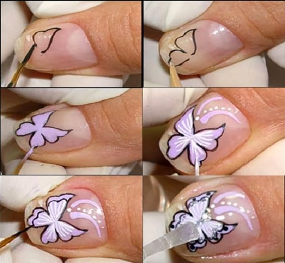butterfly nail tutorial 4