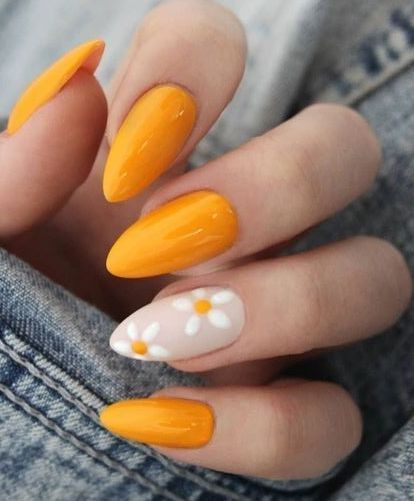 daisy floral nail art ideas 8