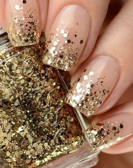 decorated glitter nails gold