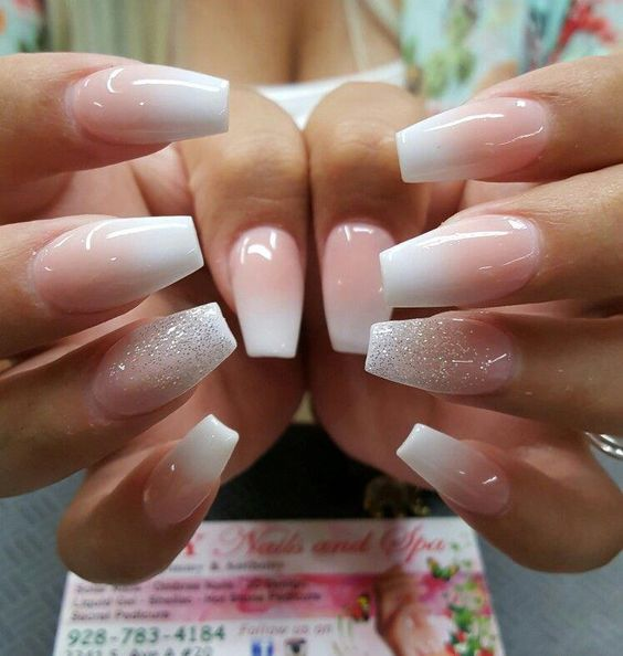 decorated glitter nails white