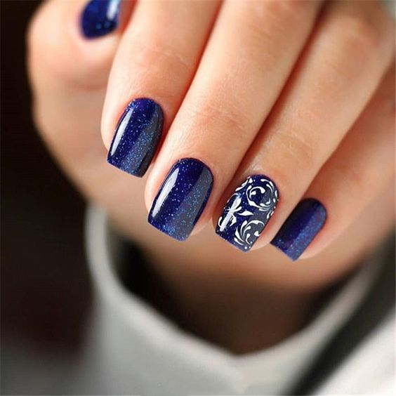 decorated nail ideas blue 3