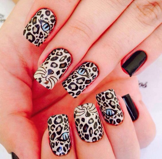 decorated nails animal print 9