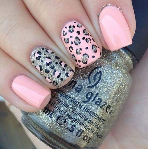 decorated nails animal print