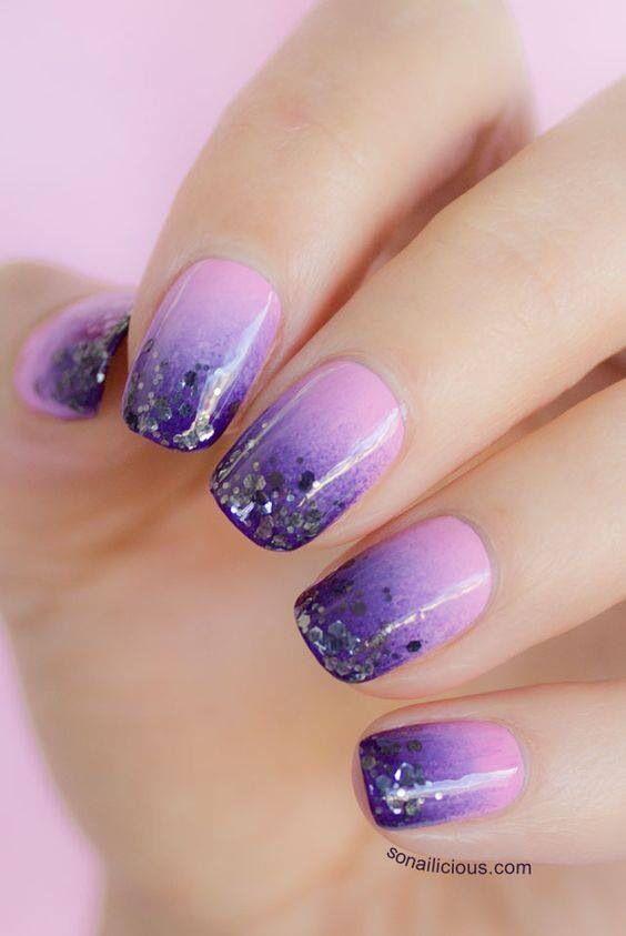 gradient nails glitter 1
