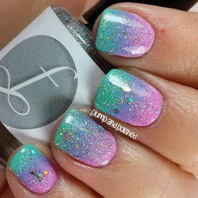 gradient nails glitter