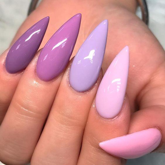 gradient nails purple