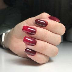 gradient nails red 1
