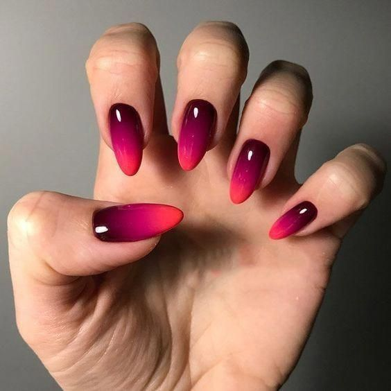 gradient nails red 2