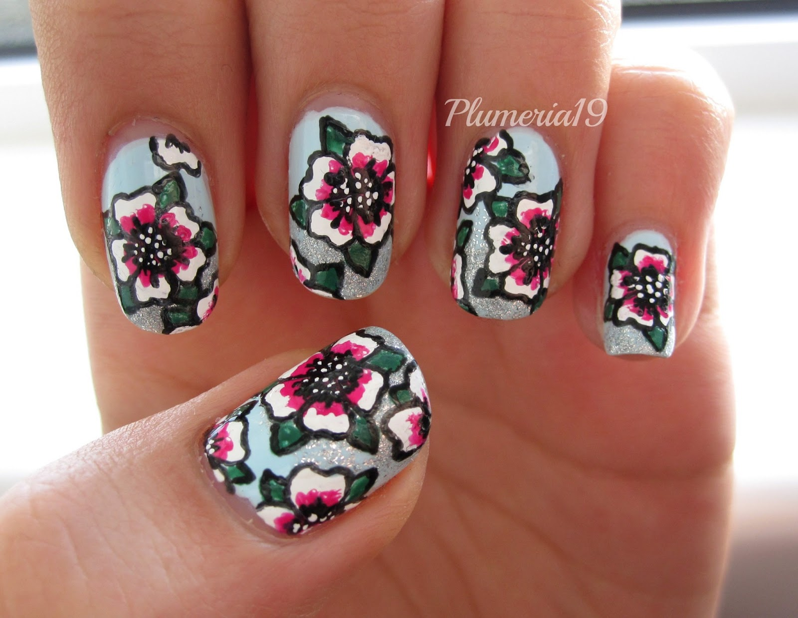 imitation one stroke floral nails