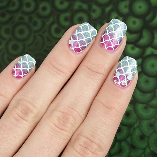 mermaid decorated nails 1