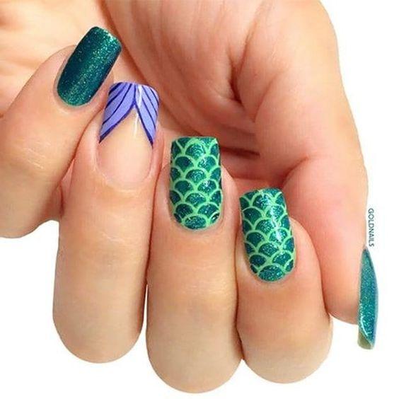 mermaid decorated nails 2