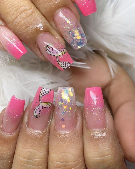 mermaid decorated nails 3