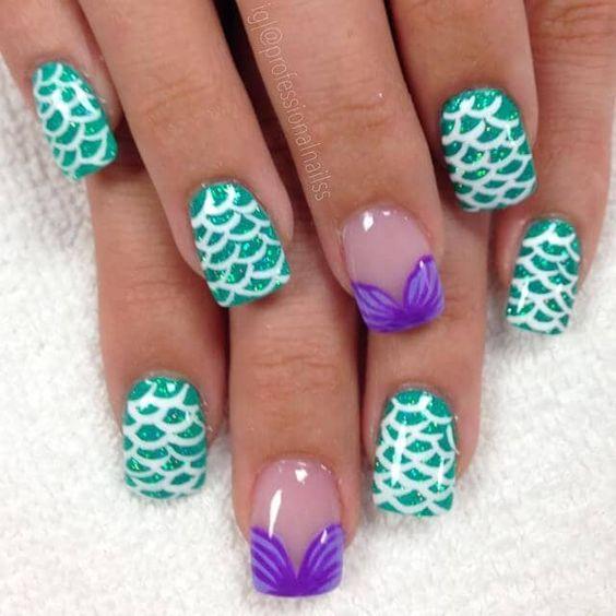 mermaid decorated nails 5