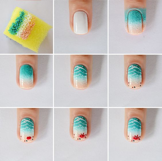 mermaid decorated nails step step 1
