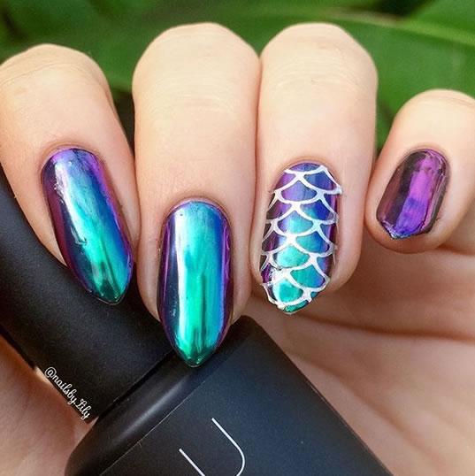 mermaid decorated nails