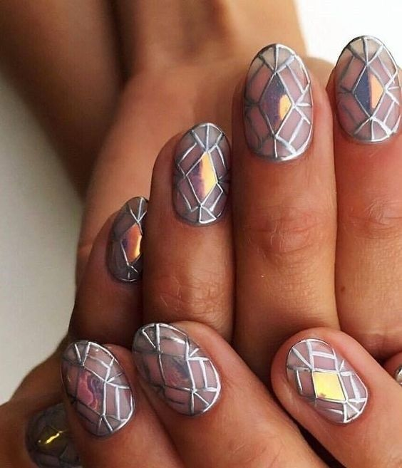 mosaic nails ideas 11