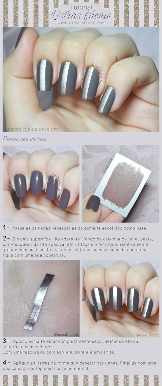 nail art ideas grey