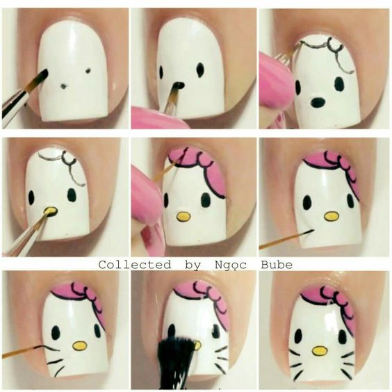 nail art ideas hello kitty