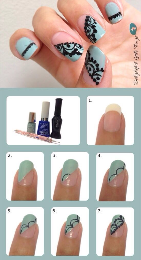 nail art ideas lace
