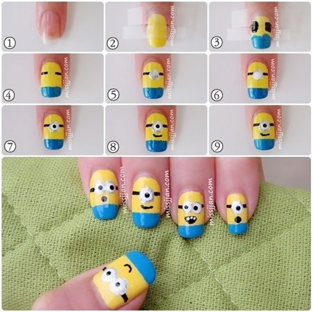 nail art ideas minion