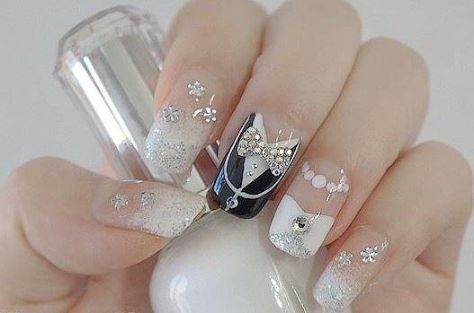 Nails decorated for brides