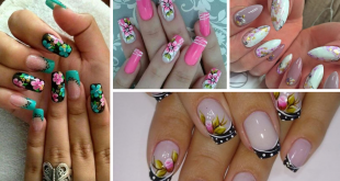 nails decorated with floral print