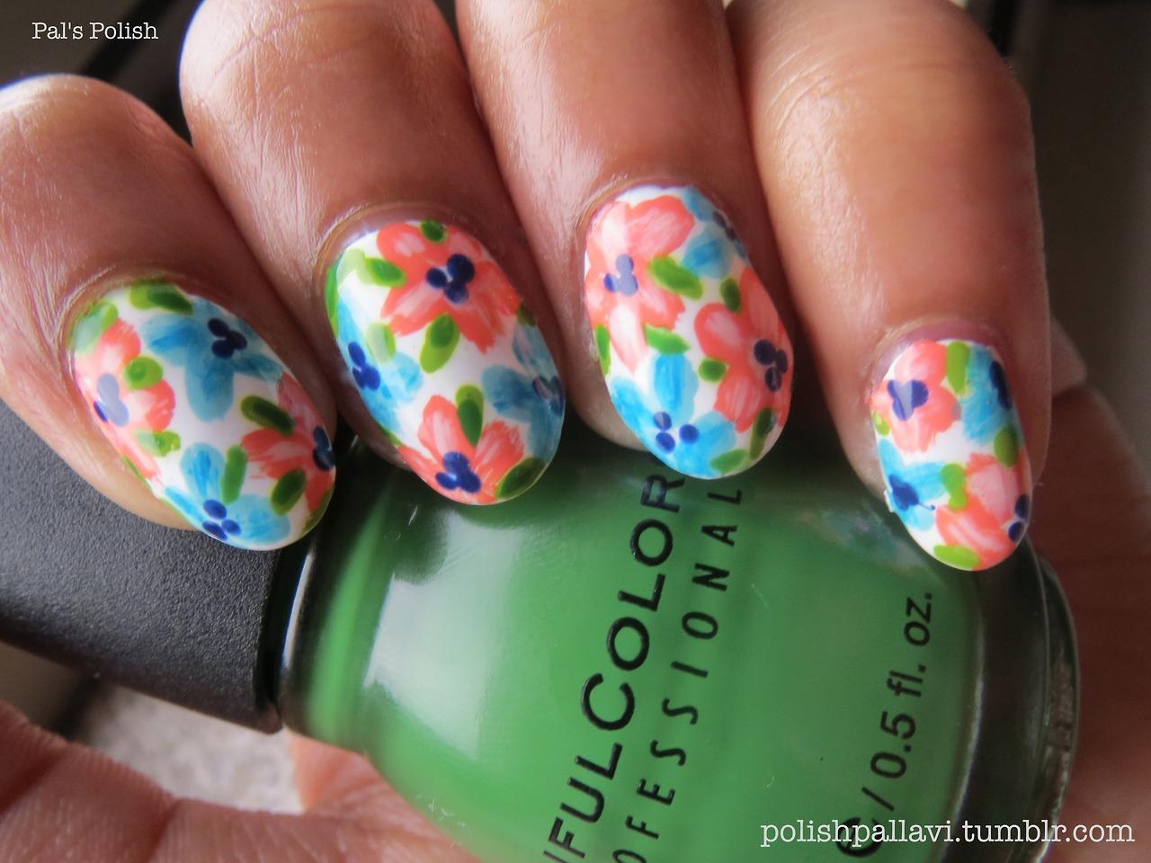 nails polish floral print