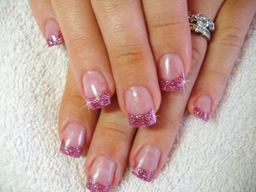 pink-glitter-nail-acrylic-nails